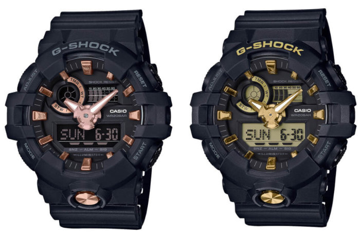 G-Shock GA710B-1A4 and GA710B-1A9 Black and Gold Street Series