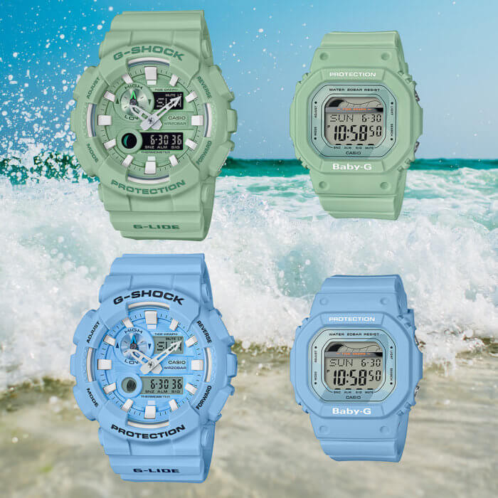 G-Shock G-LIDE GAX-100CS and Baby-G BLX-560 Pairs