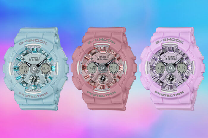 G-Shock GMA-S120DP Pastel Series: blue GMA-S120DP-2A, pink GMA-S120DP-4A, purple GMA-S120DP-6A