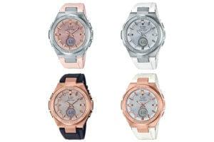 Baby-G MSG-S200 Tough Solar Analog-Digital: silver and pink MSG-S200-4A, silver and white MSG-S200-7A, rose gold and black MSG-S200G-1A, rose gold and white MSG-S200G-7A