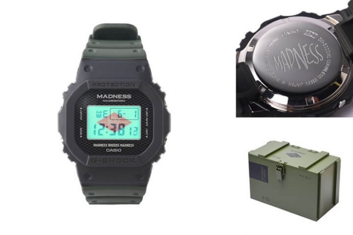 Madness x G-Shock DW-5000MD-1 Case Back and Box