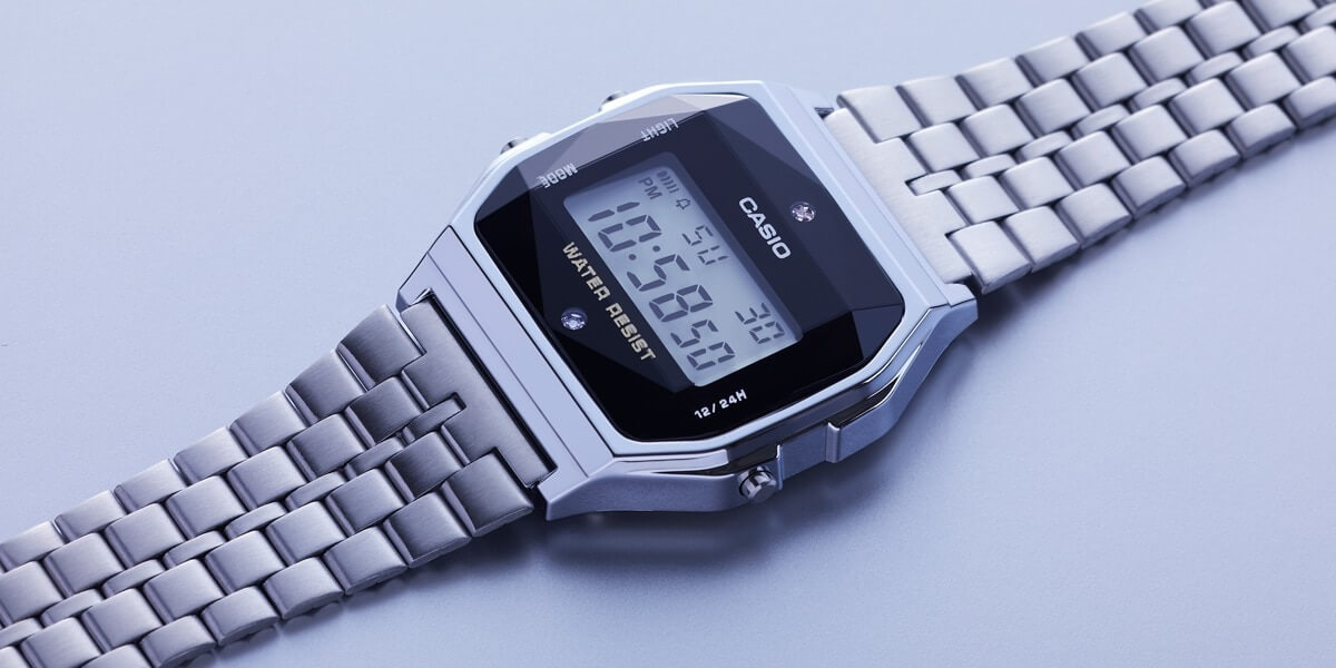 7e448d0ca19 The Casio A159WAD-1 (silver) and A159WGED-1 (gold) are vintage-style digital  stainless steel watches with two diamond accents and a three-dimensional ...