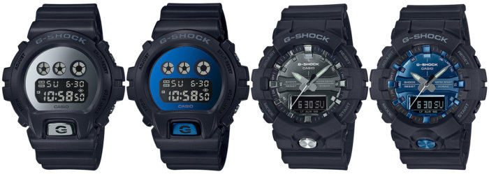 G-Shock DW-6900MMA-1 DW-6900MMA-2 GA-810MMA-1A GA-810MMB-1A2 Metallic Silver and Blue