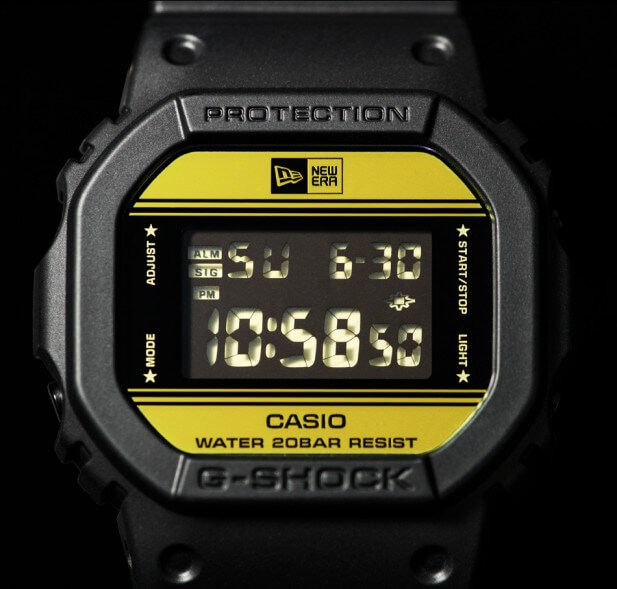 New Era x G-Shock DW-5600NE-1 Watch Display