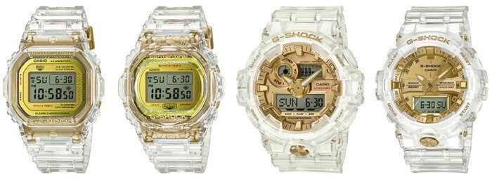 G-Shock Glacier Gold 35th Anniversary Collection: DW-5035E-7 DW-5735E-7 GA-735E-7A GA-835E-7A DW-5035E-7JR DW-5735E-7JR GA-735E-7AJR GA-835E-7AJR