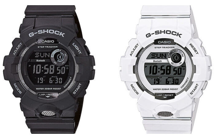 G-Shock GBD-800-1B GBD-800-7 Black, White with Step Tracker and Bluetooth