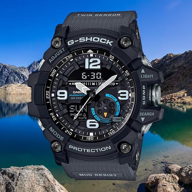 G-Shock GG-1000-1A8 Mudmaster: Black Gray Light Blue