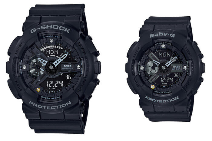 G-Shock GA-135DD-1A & Baby-G BA-135DD-1A-G-Shock-Baby-G Diamond Index 35th Anniversary Watches