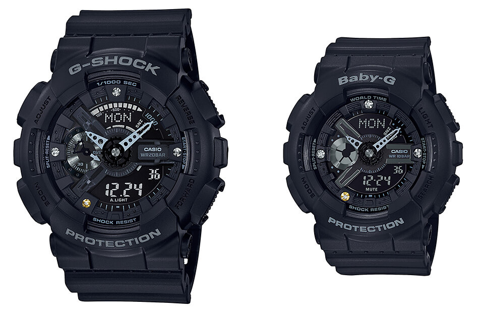 07acca9d21cb G-Shock GA-135DD-1A   Baby-G BA-135DD-1A Black with Natural Diamond ...