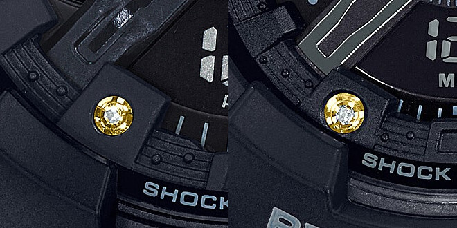 G-Shock GA-135DD-1A Baby-G BA-135DD-1A Diamond Hour Marker with Gold Ion-Plated Ring