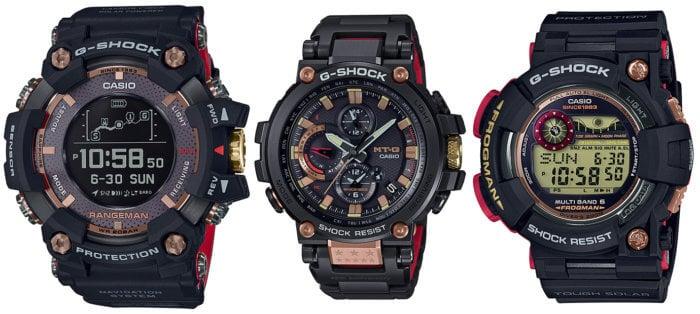 G-Shock 35th Anniversary Magma Ocean Series: Rangeman GPR-B1000TF-1, Frogman GWF-1035F-1, MT-G MTG-B1000TF-1A, GPR-B1000TF-1JR, GWF-1035F-1JR. MTG-B1000TF-1AJR