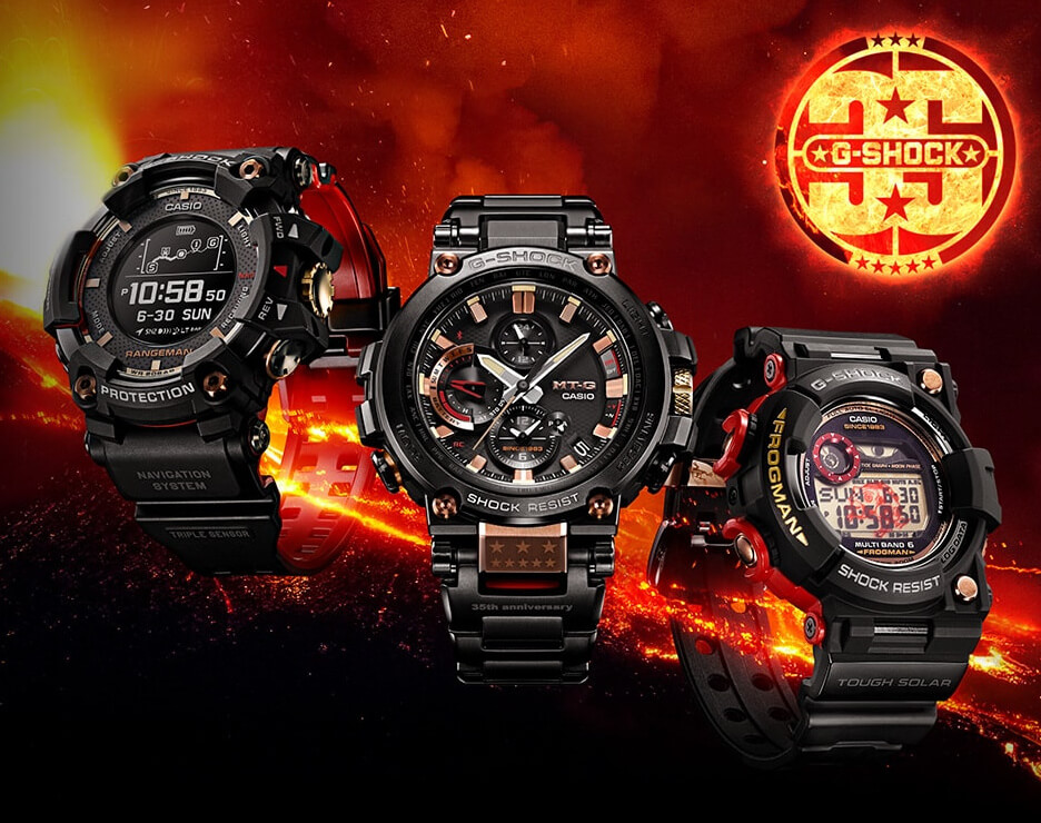 official photos c4c6b dd276 G-Shock 35th Anniversary Magma Ocean Collection with Rangeman, Frogman, MT-G