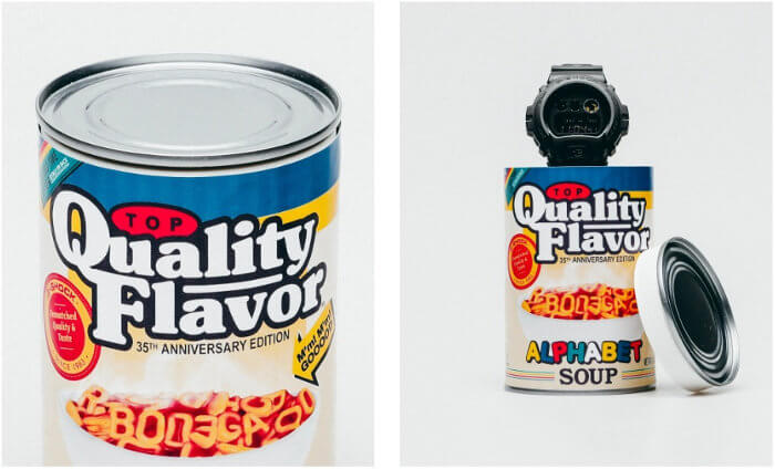 Bodega x G-Shock DW-6900 Stash Can Alphabet Soup Packaging