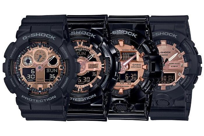G-Shock Black and Rose Gold Series: G-Shock GA-100MMC-1A GA-110MMC-1A GA-700MMC-1AJF GA-800MMC-1AJF