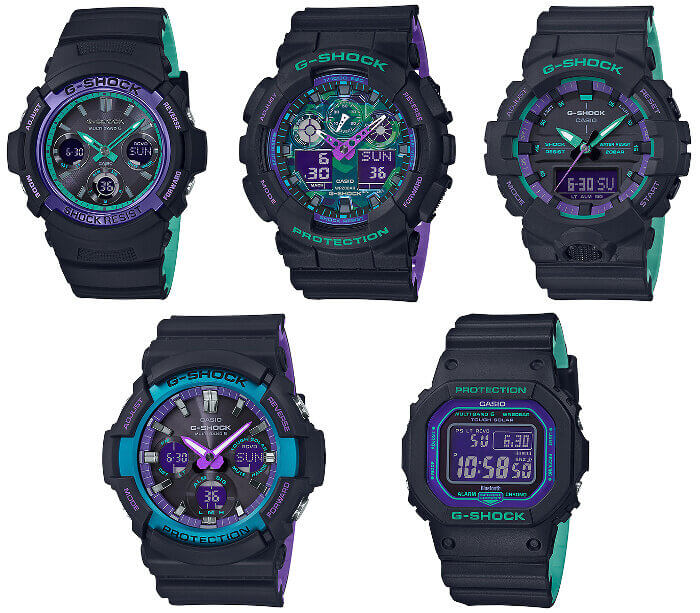 G-Shock 90s Color Purple. Blue, Turquoise AWG-M100SBL-1A GA-100BL-1A GA-800BL-1A GAW-100BL-1A GW-B5600BL-1