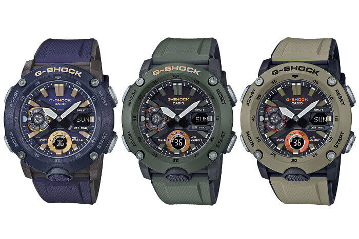 G-SHOCK GA-2000-2A GA-2000-3A GA-2000-5A GA-2000 Military Colors: Blue, Green, Brown