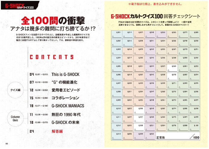G-Shock Cult Quiz 100 Book Table of Contents