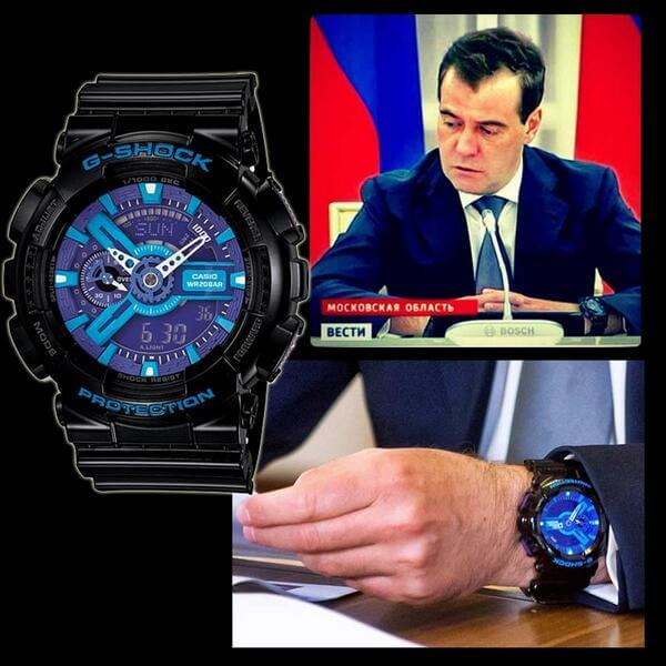 Russian Prime Minister Dimitry Medvedev wears Casio G-Shock GA-110 Wristwatch