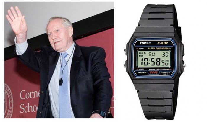 Chuck Feeney wearing Casio wristwatch