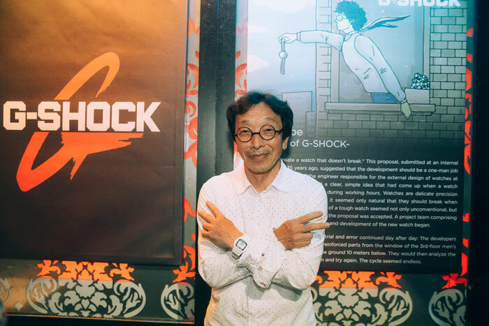 Kikuo Ibe wearing white G-Shock watch at G-Shock event in Vancouver, B.C. in 2019
