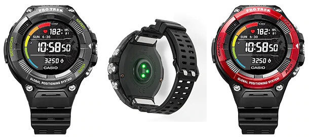 Pro Trek Smart WSD-F21HR: WSD-F21HR-BK WSD-F21HR-RD Smartwatch with Heart Rate Monitor