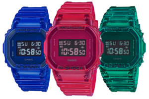 G-Shock DW-5600SB-2 DW-5600SB-3 DW-5600SB-4 Jelly Semi-Transparent Blue Green and Red