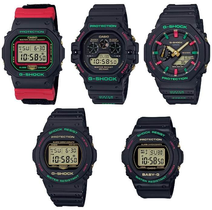 G-Shock Baby-G Throwback 1990s Christmas Red and Green: DW-5600THC-1, DW-5700TH-1, DW-5900TH-1, GA-2100TH-1A, BGD-570TH-1