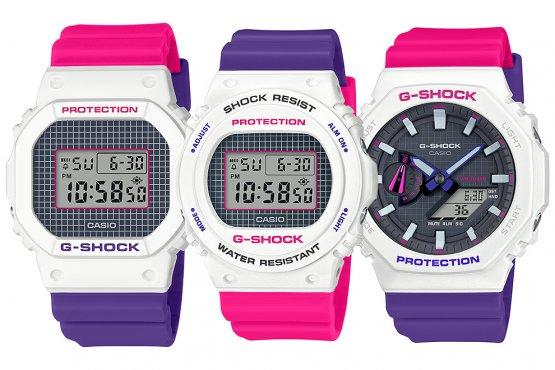 G-Shock & Baby-G Throwback 1990s Series White Pink Purple