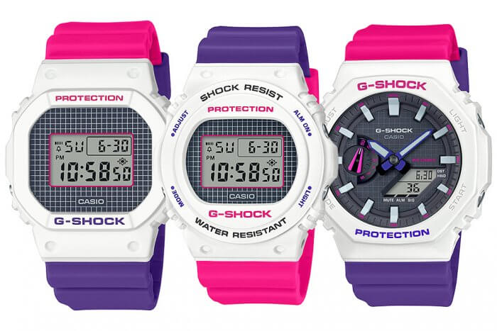 G-Shock & Baby-G Throwback 1990s Series White Pink Purple
