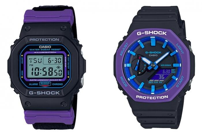 G-Shock DW-5600THS-1 & GA-2100THS-1A Sporty Throwback 1990s Series Black Purple