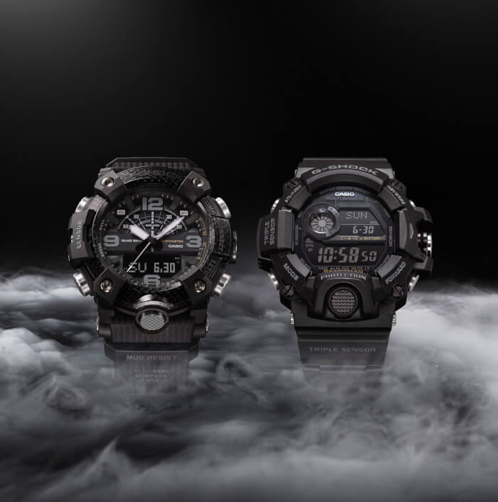 Blackout G-Shock Mudmaster GGB100-1B and Rangeman GW9400-1B
