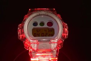 Clear Skeleton G-Shock Changing Color With Colored Lights