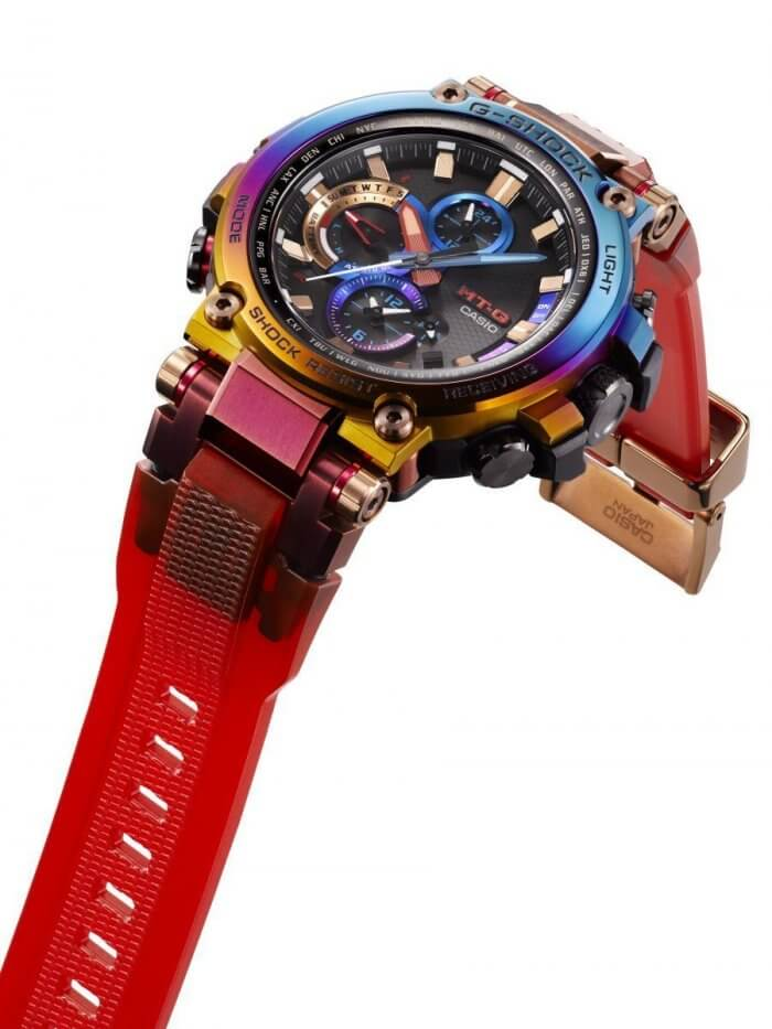 G-Shock MT-G MTG-B1000VL-4A with Red Translucent Soft Urethane Band