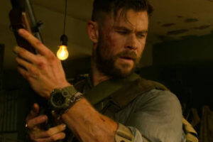 Chris Hemsworth wearing Casio G-Shock Rangeman GW-9400 wristwatch in Extraction