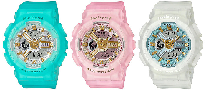 Baby-G BA-110SC Sea Glass Color Series: blue BA-110SC-2A, pink BA-110SC-4A, and white BA-110SC-7A