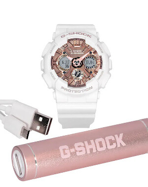 G-Shock GMAS120MF-CHG with external battery USB charger