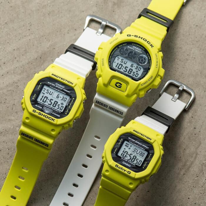 G-Shock DW-5600TGA-9 & DW-6900TGA-9 Baby-G BGD-560TG-9JF Lighting Yellow