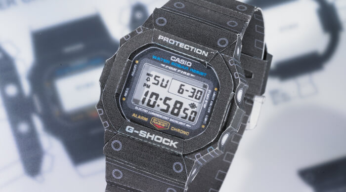 Free G-Shock DW-5600 Papercraft Kit