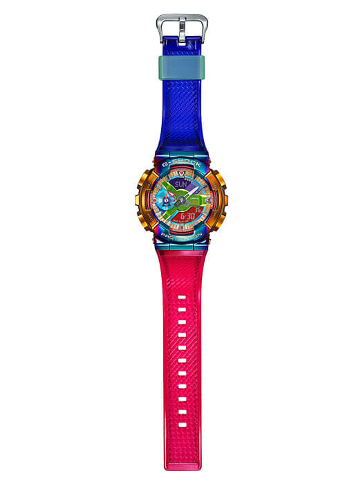 G-Shock GM-110RB-2A Band - Gold and Rainbow IP with blue and red bands