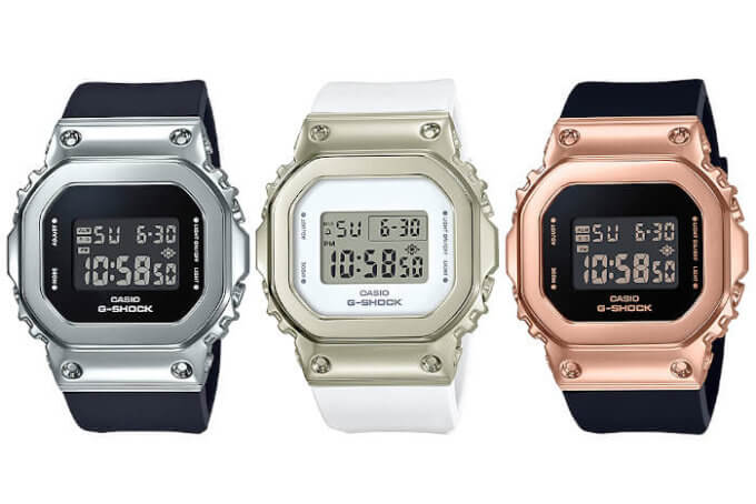 G-SHOCK GM-S5600 Series Small Metal Square: GM-S5600-1 GM-S5600G-7 GM-S5600PG-1