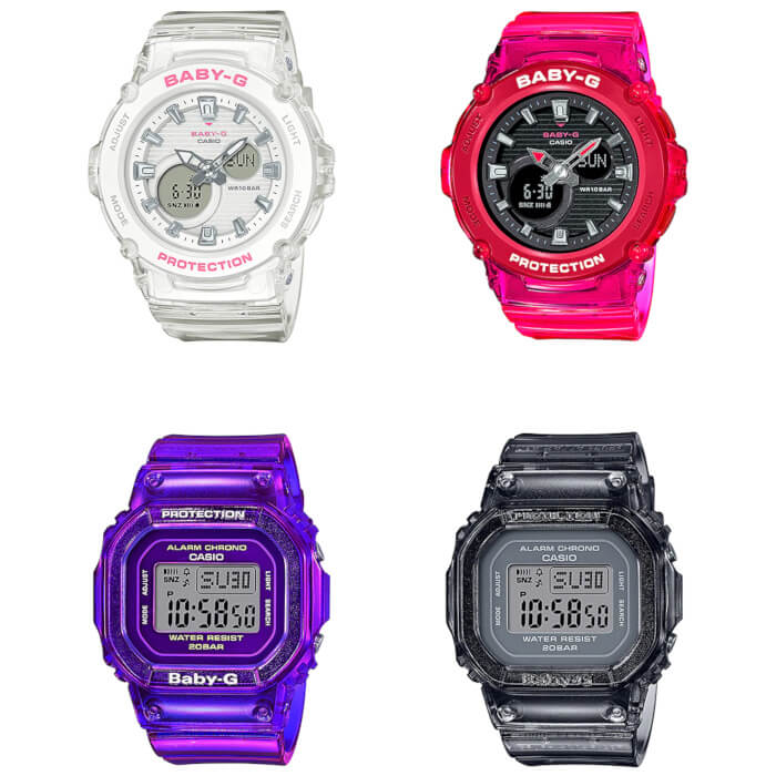Baby-G BGA-270S and BGD-560S Color Skeleton Series White Red Purple Gray