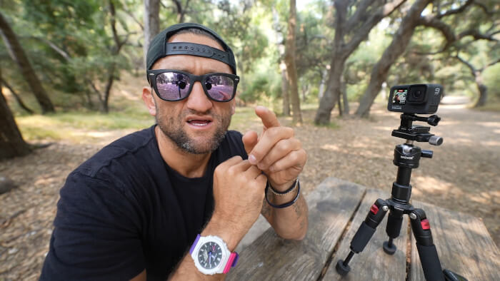 Casey Neistat wears Casio G-Shock GA-2100THB-7A Wristwatch