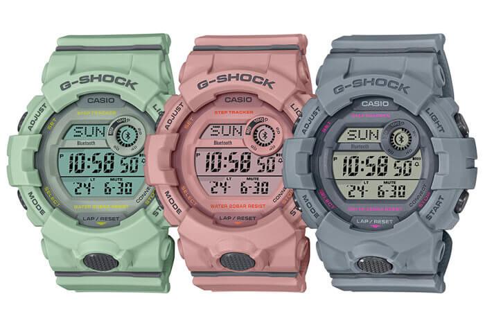 G-Shock G-SQUAD GMD-B800SU Pastel S Series GMD-B800SU-3 GMD-B800SU-4 GMD-B800SU-8 Green Pink Gray