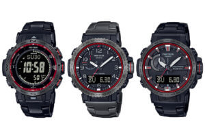 Pro Trek Firefall Series: PRW-30YT-1, PRW-50YT-1, PRW-60YT-1 with titanium bands & sapphire, inspired by El Capitan waterfall