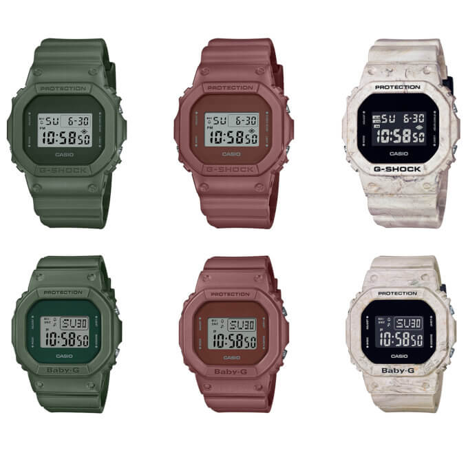 G-Shock Earth Color Tone Series: DW-5600ET DW-5600WM Green, Brown Red, Sand