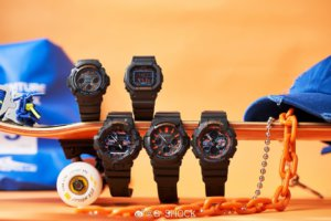 G-Shock CT Black with Blue and Orange Accents and Digital Camouflage