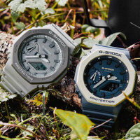 G-Shock Earth Tone GA-2110ET-2A & GA-2110ET-8A: Blue and White, Gray