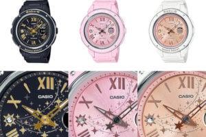 Baby-G Shooting Star Series with Swarovski Crystals: Black BGA-150ST-1A, Pink BGA-150ST-4A, White BGA-150ST-7A