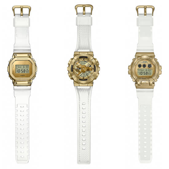 G-Shock Skeleton Gold Metal Covered Series: GM-5600SG-9, GM-6900SG-9, GM-110SG-9A