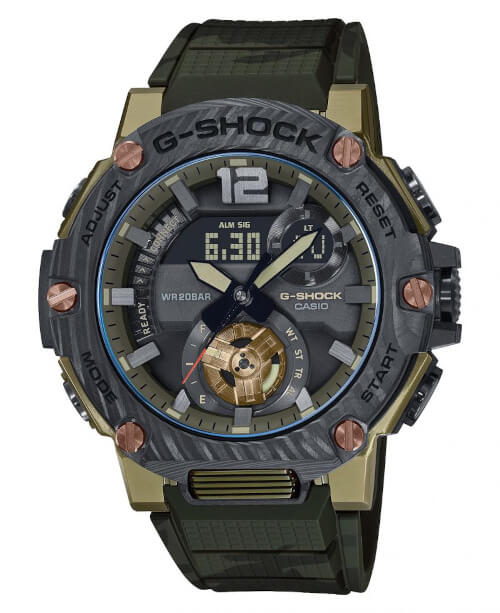 G-Shock G-STEEL GST-B300XB-1A3 Military Style with Carbon Bezel, Sapphire Crystal, and Green Camouflage Band GST-B300XB-1A3JF